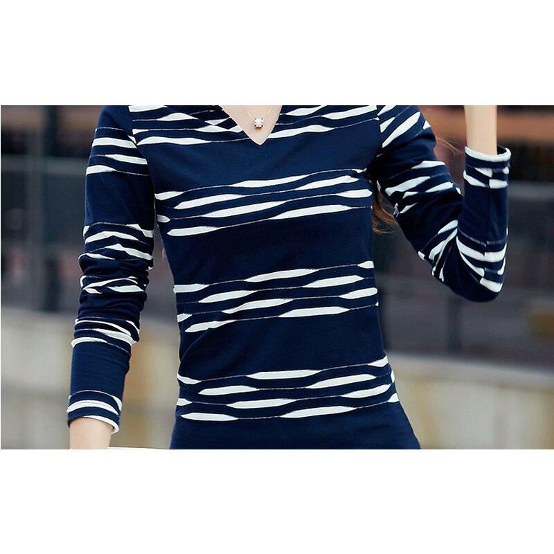 T Shirt Women Long Sleeve Tshirt Woman 2018 Camisetas Mujer Striped Womens Tops Casual T-Shirts Plus Size Blue Tee Shirt Femme