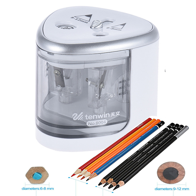 New Two Hole Sacapuntas Electric Pencil Sharpener Electronic Desktop School Office Home Automatic