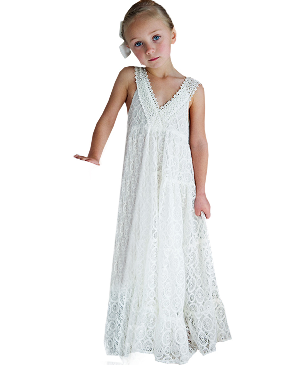 ФОТО Ivory Child Bridesmaid Maxi Vestidos de Comunion  Brife Style Bow Sleeves V-neck  Backless Hollow Lace Cinderella Dress 2017