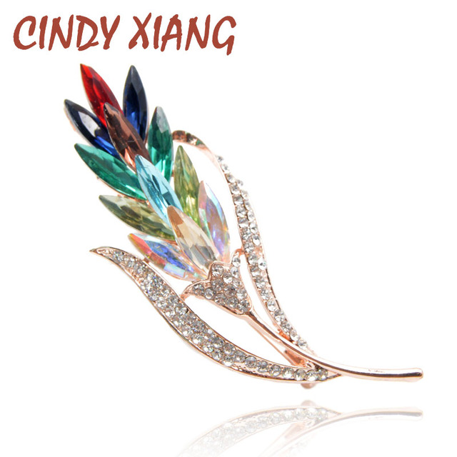 CINDY XIANG Multi-color Crystal Wheat Brooches for Women Rhinestone Brooch Pin F