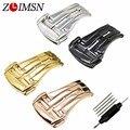 Zlimsn cinto cinta faixa de relógio de fivela de aço inoxidável implantação fecho de prata ou preto cinta relojes hombre de metal 2017 20mm ome102