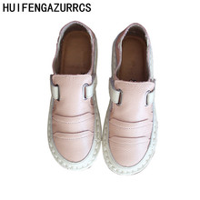 HUIFENGAZURRCS-Genuine leather single shoes Spring new low-upper shoes soft soles,Mori series of literary&artistic retro shoes