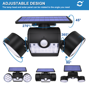 Image 3 - Newest Double Head Solar Lamp Outdoor Waterproof Garden Wall Solar Light With 30 leds Adjustable Angle Security Lighting 500lm