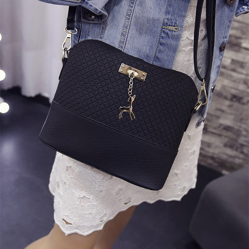 2017 Women Shoulder Bags Fashion Mini Bag With Deer Toy Shell Shape Women Small  Messenger Crossbody Bag Ladies Zipper HandBags fashion women mini messenger bag pu leather shell shape bag crossbody shoulder bags with deer toy popular