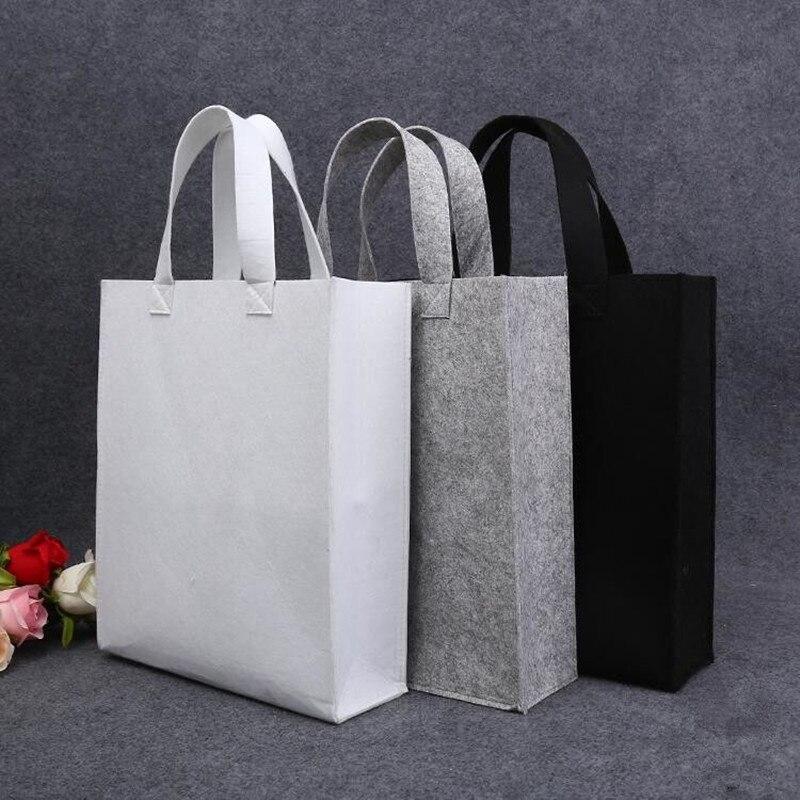 100pcs lot Blank fashionable thick Eco Reusable Felt Tote Handbag Fashion Shopping Bags for cloth books