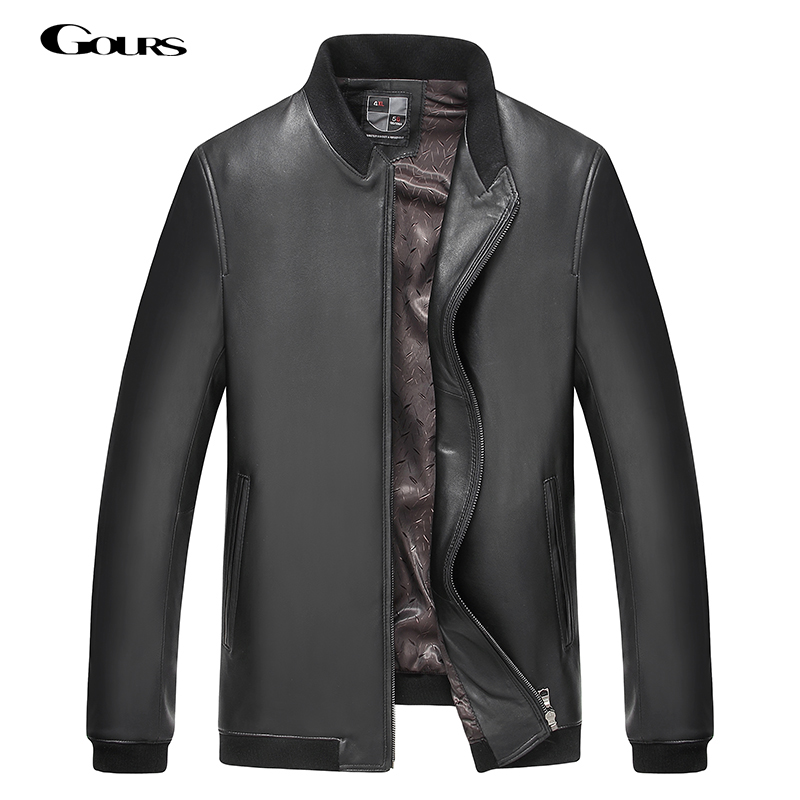 Gours Fall and Winter Men's Genuine Leather Jackets Male Clothing Sheepskin Leather Jacket and Coats Brand 2018 New Arrival 4XL