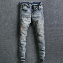Модная уличная одежда, мужские джинсы, Ретро стиль, вареные, зауженные, рваные, потертые джинсы, штаны с вышивкой, дизайнерские винтажные классические джинсы для мужчин