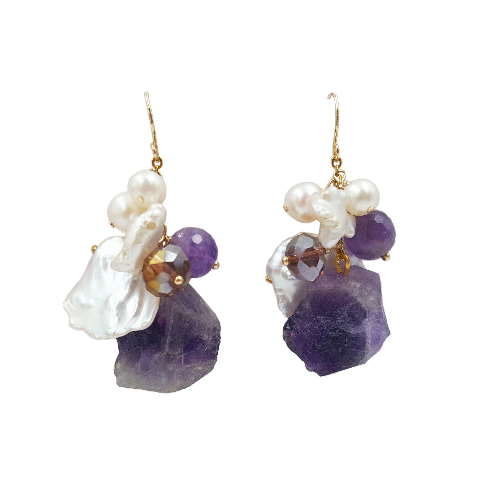 Lii Ji Natural Amethyst Rock stone Freshwater Baroque Keshi Pearl beads 925 Sterling Silver Gold Color Drop Earrings металлоискатель makro racer gold pro