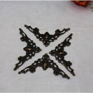 Image 2 - Bronz telkari üçgen çiçek sarar Cabochon eski kalp köşe Flatback Metal bezemeler Scrapbooking 40mm 100 adet