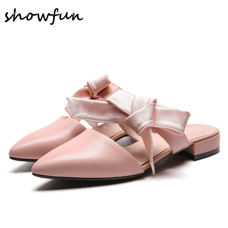 3 Color women's genuine leather sweet bowtie slip-on flats mules brand designer pointed toe summer female footwear sandals shoes cloth slip on bowtie pointed toe womens sandals