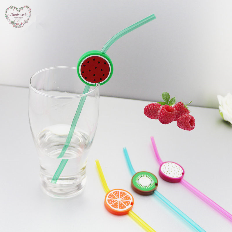 Dualswish 4pcs Creative Fruit Straws Birthday Party Decorations Kids Disposable Plastic Straws Wedding/Beach Party/Pool Supplies