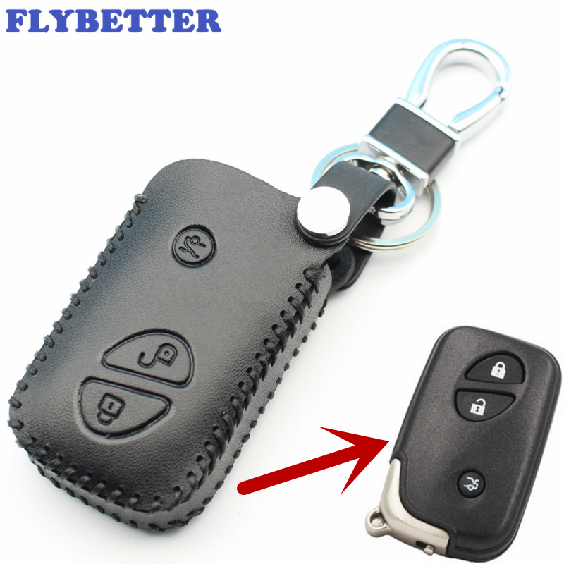 цена на FLYBETTER Genuine Leather Remote Control KeyChain Cover Case For Lexus ES250/RX270/RX350/GX460 3Button Smart Key L2108
