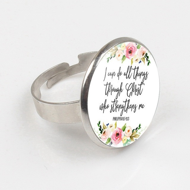 Philippians 4 13 I can do all things through Christ Bible Verse Ring Inspirational Jewelry Christian Gifts Ring in Rings from Jewelry Accessories