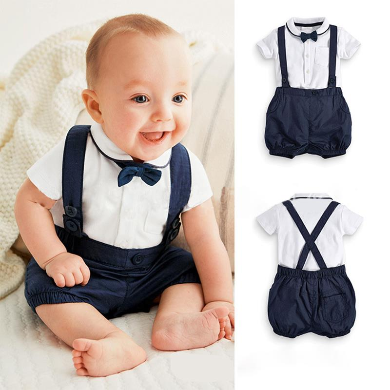 2016 baby boy clothes summer new European and American gentleman boys two-piece white short-sleeved overalls bow accessories