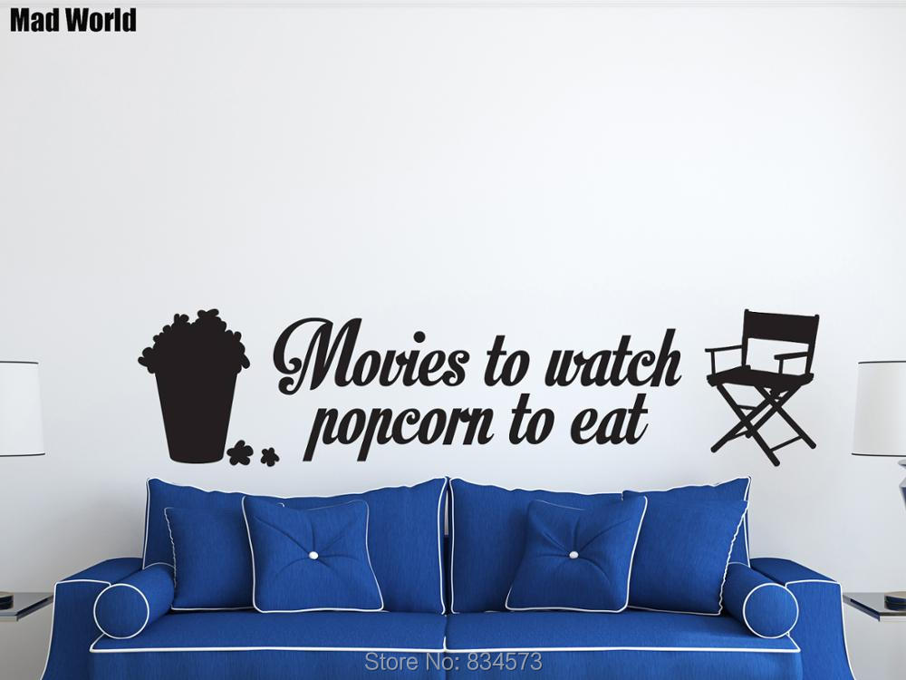 Mad Welt KINO Filme Popcorn Essen Film Wandkunst Aufkleber Wandtattoo Home DIY Dekoration Room Decor Wand