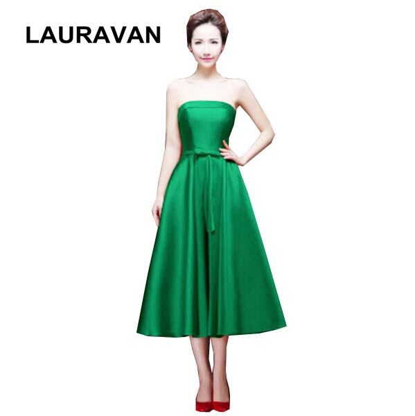 green strapless occasion ladies puffy   bridesmaid     dresses   plus size for special occasions tea length satin   dress   free shipping
