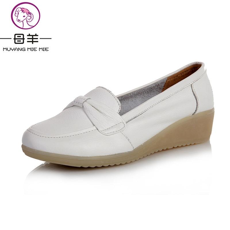 MUYANG китайский Бренд женщины квартиры женщины Натуральная кожа обувь Повседневная обувь женщины плоские туфли рабочая обувь медсестра