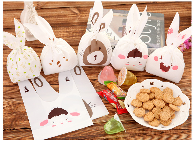 20pcs lot Bunny Cookie Bag Wedding Favors Rabbit Ear Candy Plastic Bag Kids Happy Birthday Party Favors Decorations Baby Shower in Gift Bags Wrapping Supplies from Home Garden