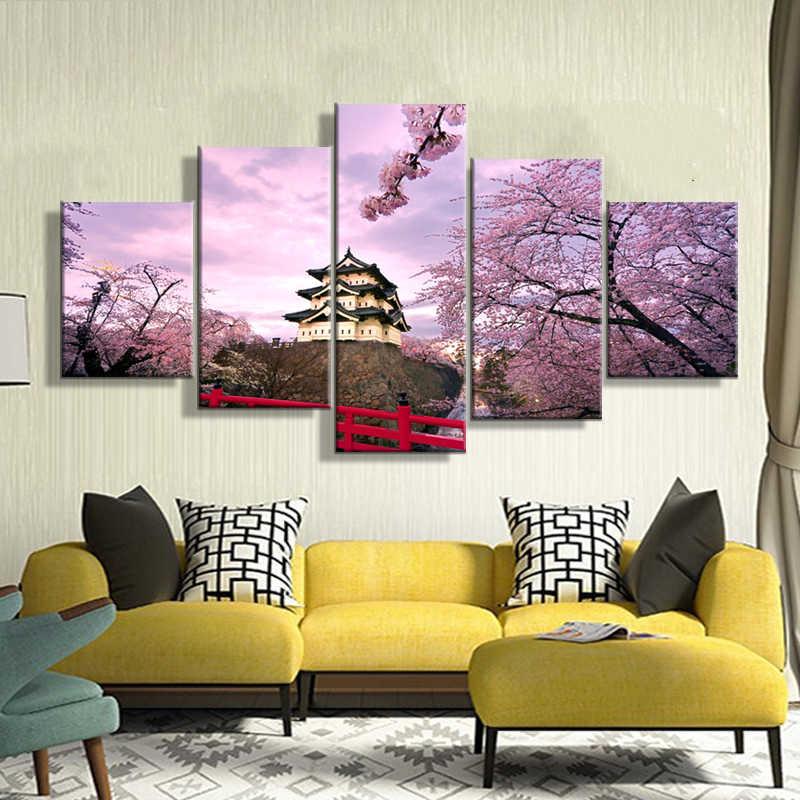 المنزل الديكور الصور خمر 5 لوحة الكرز زهر اليابان إطار لوحات على قماش الملصقات و يطبع على جدار