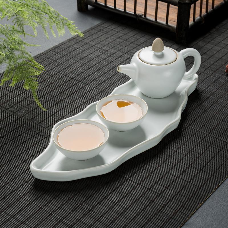 Ensemble de thé chinois en céramique blanche noire ensemble de théière en porcelaine Gaiwan ensemble de thé de bureau à domicile Vintage