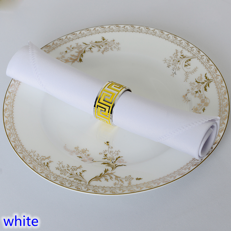 White colour Table napkin plain polyester napkin for wedding hotel and restaurant table decoration wrinkle stain resistant