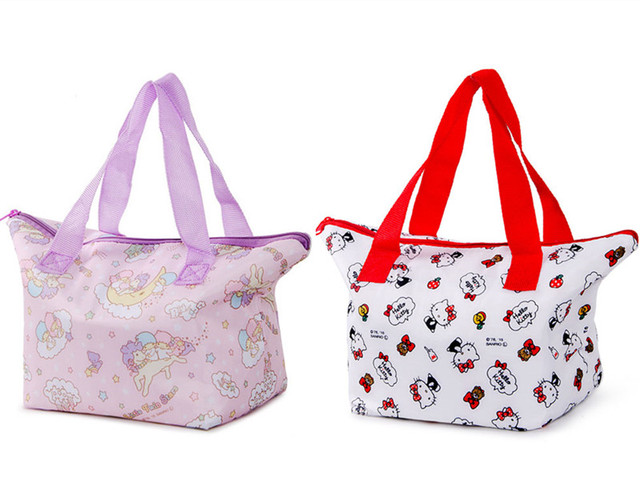 648534bf55 Cute Hello Kitty Little Twin Stars Insulated Lunch Box Tote Bags for Women  Girls Kids School Picnic Food Bag Thermal Cooler Bag