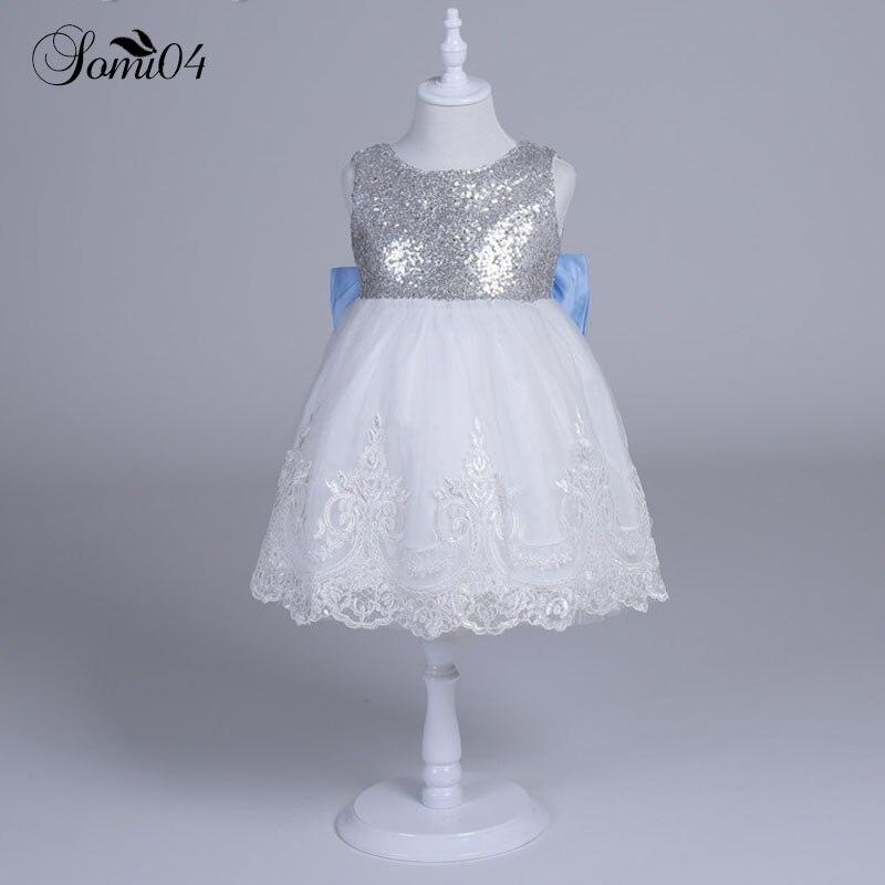 где купить 2018 New Baby Kids Girl Clothing Dresses Bow Lace Party Wedding Silver Sequins White Bridesmaid Ball Gown Girls Baptism Dress по лучшей цене