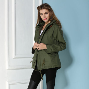 top quality 2015 arrival spring design long sleeve waist women jackets green outerwear mrs fur Parkas Winter Jackets Outdoors