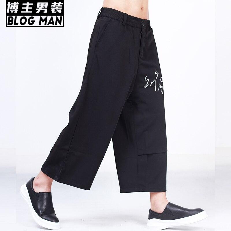 100 Noir D'été Jambe Costumes Vêtements Pantalon Harem Fmale Droite Coton 2016 Longueur Hommes Broderie Chanteur Cheville Large wPcRBqat