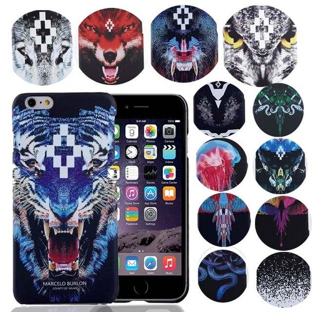 2017 coque per iphone 6s marcelo burlon copertura tigre leone volpe capinhas case per iphone 6 6s 7 plus 5 se marcelo case vendite al dettaglio Box