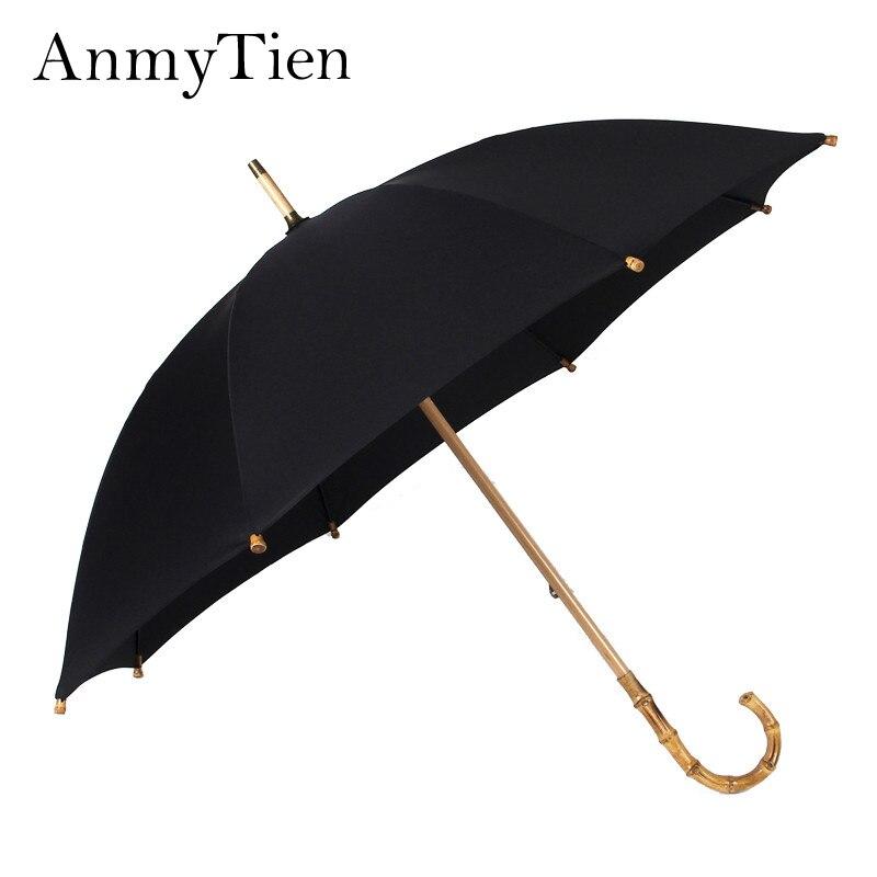 Homme Super grand Style Vintage britannique noir & bleu marine fait à la main Nature rotin bambou à Long manche parapluie Guarda Sol paraguay
