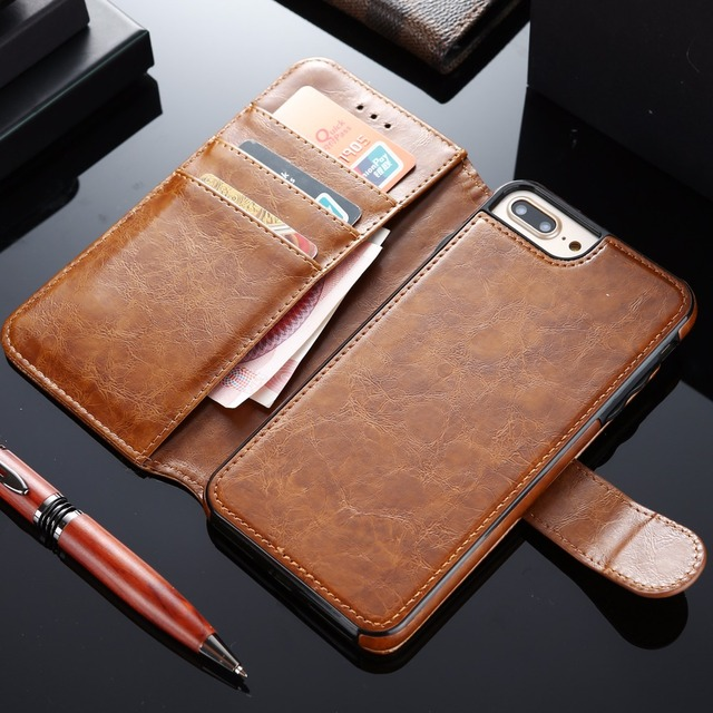 hot sale online a5e55 f435f US $11.98 |[Long Steven]For iPhone 8 Plus Case Detachable Leather Card  Pocket Magnet Adorption Back Cover Kickstand For iPhone 7 Plus Case-in Flip  ...