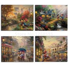 hot deal buy thomas kinkade mickey and minnie hd print canvas painting living room wall art poster print on canvas home bedroom decoration