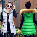 Women Winter Fashion Vest Waistcoat 2016 Womens Long Vest Sleeveless Jacket Faux Fur Collar Hooded Down Cotton Warm Vest Female