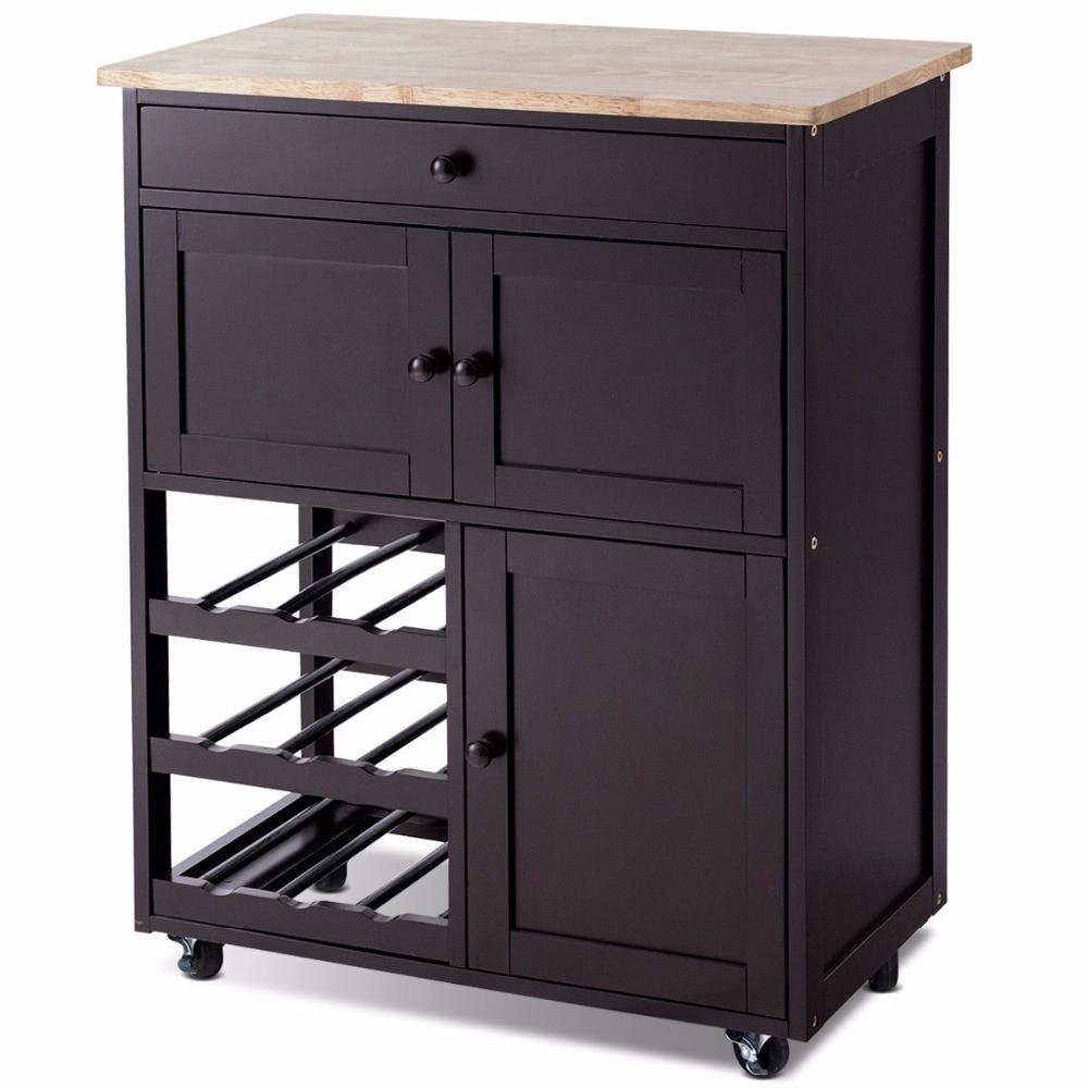 Giantex Modern Rolling Kitchen Cart Trolley Island Storage Cabinet w/Drawer&Wine Rack Dining Room Furniture HW56608BN 6
