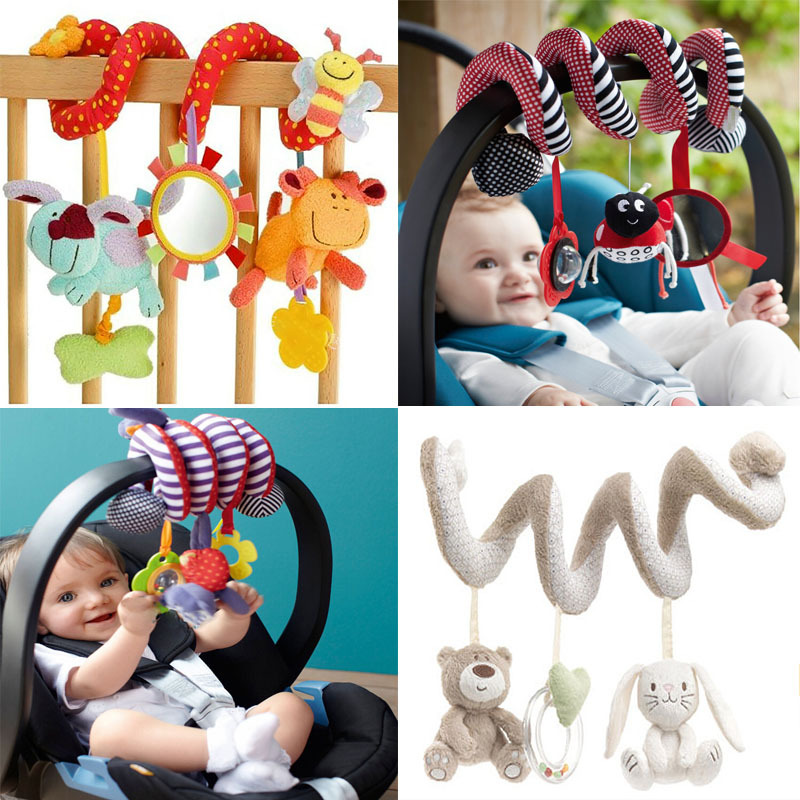 Cute Spiral Activity Stroller Car Seat Cot Lathe Hanging Babyplay Travel Toys Newborn Baby Rattles Infant Toys 2015 Z19
