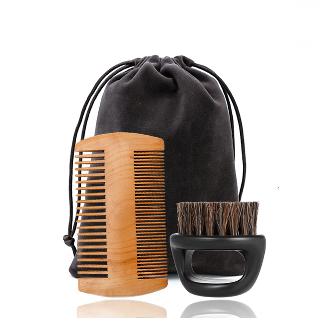 Ring Boar Bristle Beard Brush & Wooden Grooming Comb Mustache Shaving Brush Beard Comb Kit Facial Care Kit Gift For Men