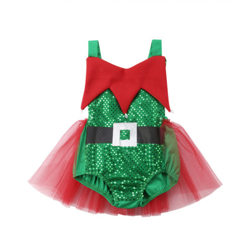 Xmas Gift Kids Christmas Party Romper Clothes Newborn Baby Girl Lace Tutu Sequins Rompers Sunsuit Backless Jumpsuit Clothing Set 2017 new sequins baby girl romper clothes summer sleeveless tutu skirted toddler kids jumpsuit outfit sunsuit princess costume