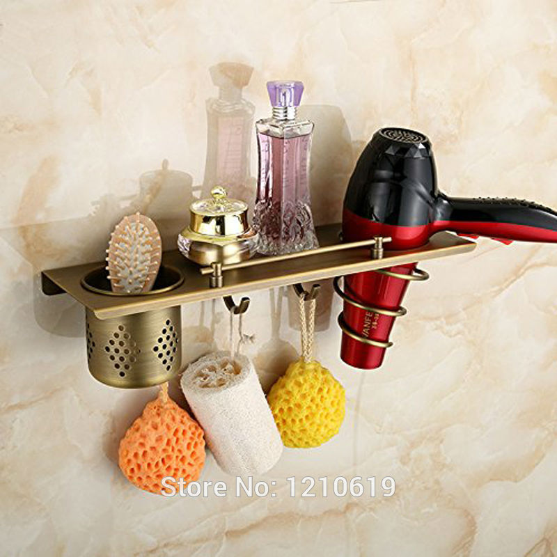 цены Newly Antique Brass Bathroom Commodity Shelf Cosmetic Storage Rack w/ Hook Wall Mount Hair Dryer Holder