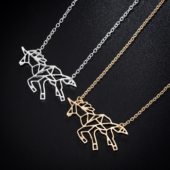 Hfarich 2018 Unique Origami Unicorn Animal Necklace Hollow Pegasus Geometric Origami Pentium Horse Jewelry For Christmas Gift image