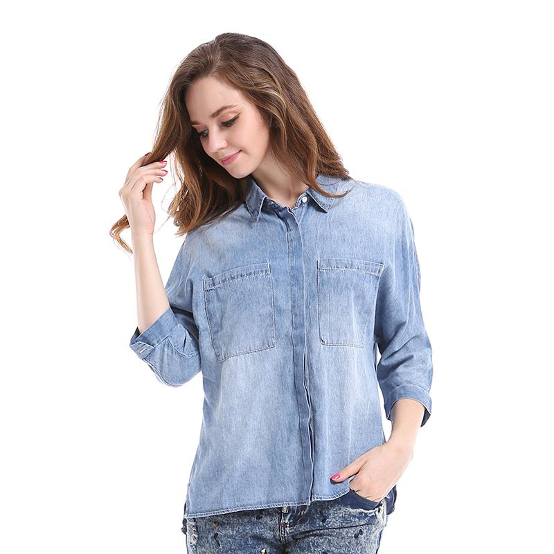 ba86bde8d168dd 2015 Vintage Big Pockets Jeans Top Women Denim Shirts Autumn Three Quarter  Sleeve Ladies New Casual Loose Blouse Camisa Feminino-in Blouses   Shirts  from ...