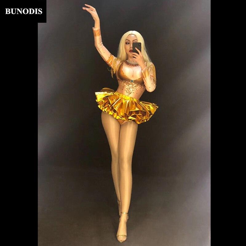 Partie Zd428 Sexy Or Jupe Usage Body Courte Bling Cristaux Mousseux Danseur D'étape Discothèque Costumes Femmes Chanteur azHqwS
