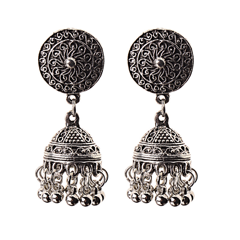 Image 5 - India Retro Birdcage Earrings Handmade Antique Silver Color 