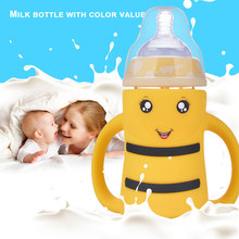 Baby Bottle Cup Striped Bee Wide Mouth Children Training Cups Cute Baby Drinking Water Feeding Bottles(China)