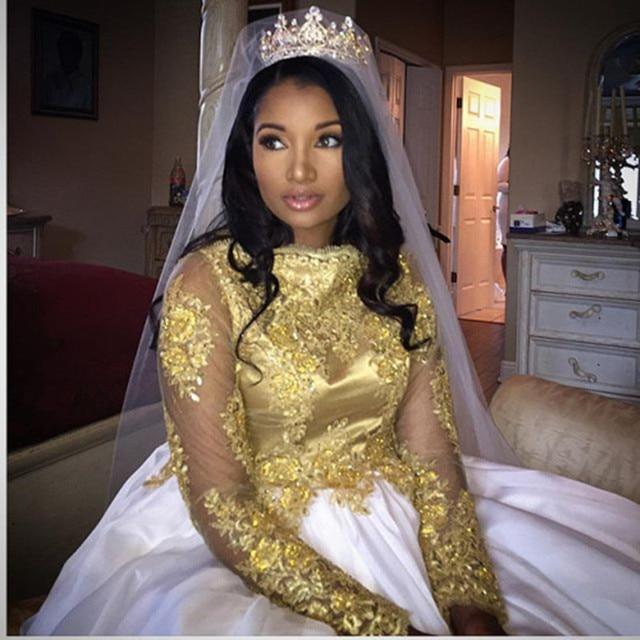 Gold And White Muslim Evening Dress Turkish Islamic Women