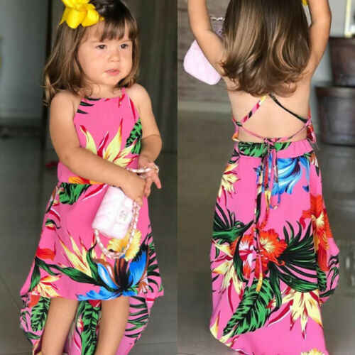 2019 Peuter Baby Meisjes Zomer Bloem Backless Party Dress Zonnejurk Casual Kleding