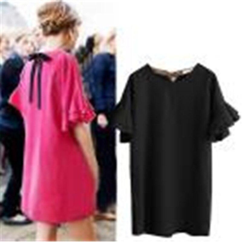 snowshine YLI Women Plus Size Loose Casual Dress Flare Sleeve Bandage Solid Dress free shipping