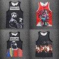 Moda homens Tupac/2Pac/Biggie Smalls/Jordan hba Regatas Casual 3d sem mangas hip hop Tanque Tops plus size