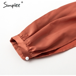 Image 5 - Simplee Ruches v hals sash vrouwen jurk Flare mouw hoge taille sexy satijnen jurk Herfst winter rode wrap casual dress 2018