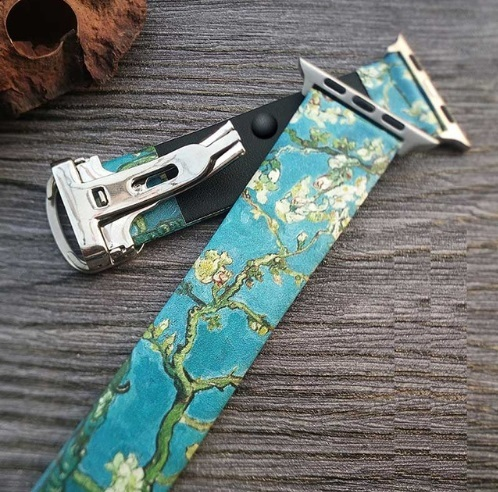 Van Gogh Art Printed Leather Band for Iwatch Strap Series 5 4 3 2 1 Flower Wrist Strap for Apple Watch Band 40mm 38mm 44mm 42mm   Watchbands